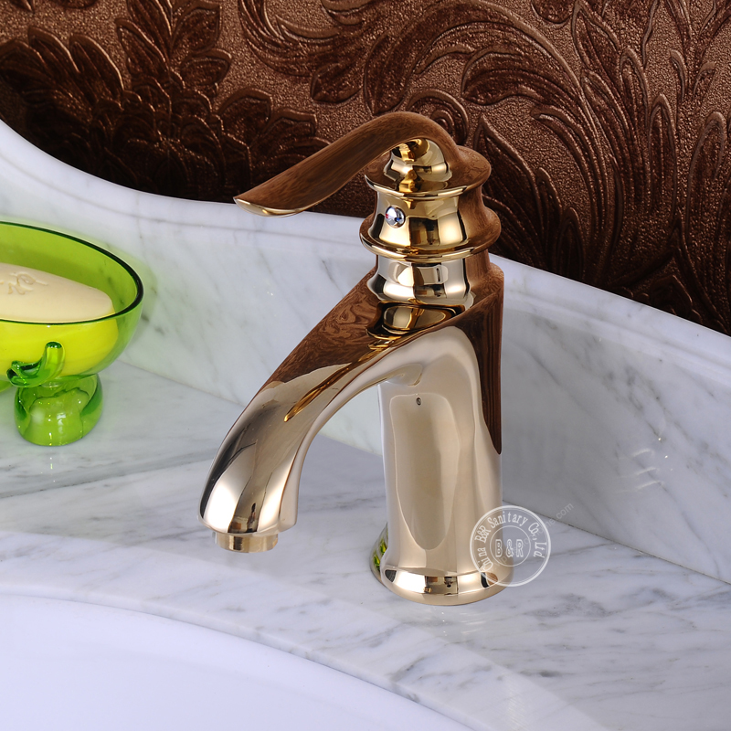 Faucet single handle faucet handle gold taps gold faucet for Gold bathroom sink taps