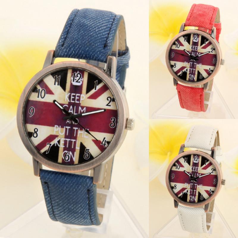 Tooptoot clock Relogio masculino saat Unisex Casual Quartz Analog Sports Denim Fabric UK Flag Wrist Watch reloj hombre 2016(China (Mainland))