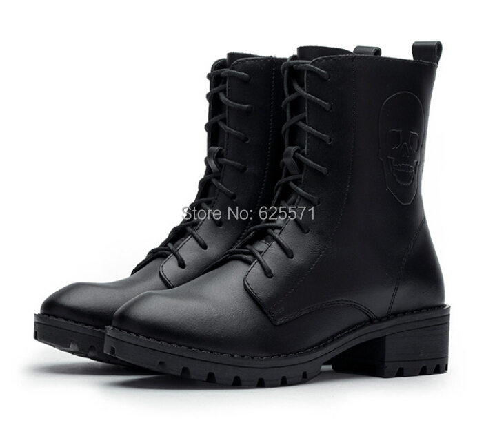 Fashion Women Boots New 2014 Genuine Leather Boots Women Outdoor Motorcycle Boots Lace Up High Heels Martin Ankle Platform Boots