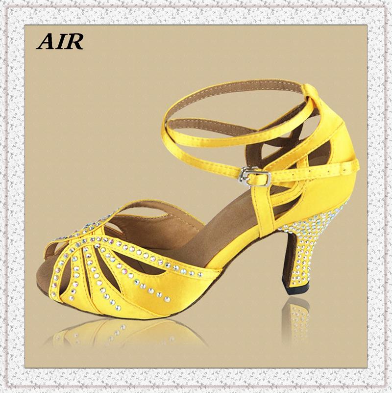 Customizable Fitness Peep Toe Cut Outs Med Or High Heel Satin Women's Ballroom Tango Latin Dance Shoes Yellow