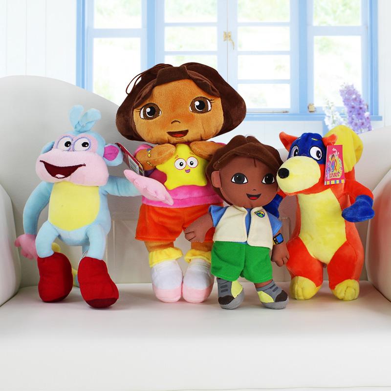 EMS 80Pcs/Lot Dora The Explorer Boots Monkey Swiper Fox Dora Diego Plush Toy Stuffed Soft Doll 18~30cm 4Styles Selectable(China (Mainland))