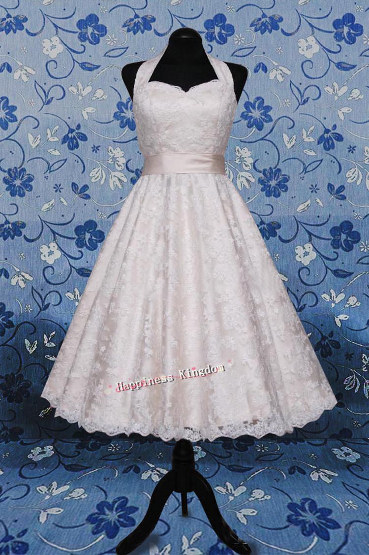 Free shipping real sampled halter a line tea length off for One shoulder tea length wedding dress