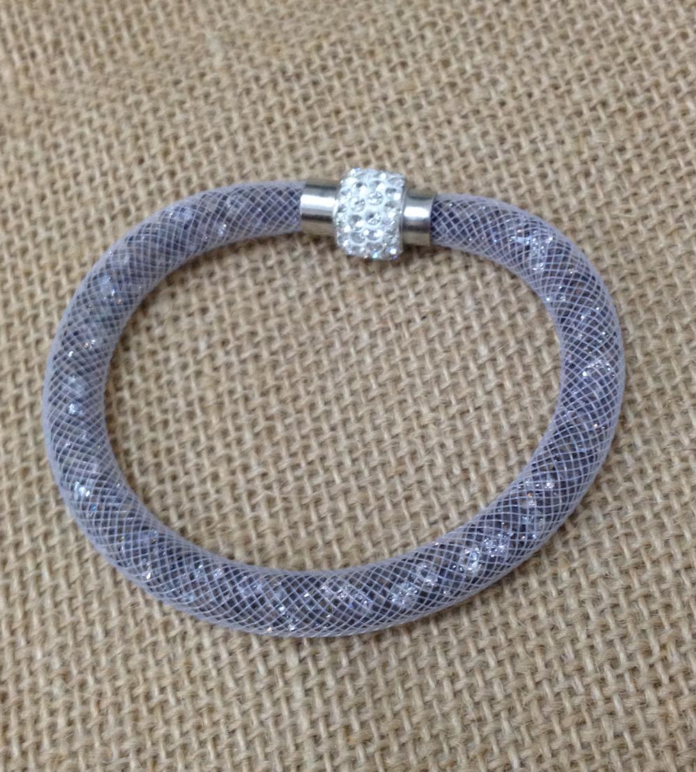 1pc bracelets wholesale lot Gift high quality stardust crystal mesh tube magnetic bracelets 2015 bijoux jewelry(China (Mainland))