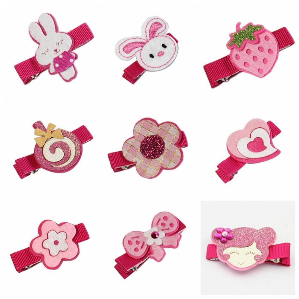30pcs carters 2015 Latest cartoon Felt Hair Clips Baby Girl Hair bow fancy work rabbit/monkeys/Lollipop Hair Accessory FJ3235(China (Mainland))