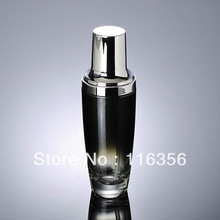100ml black glass lotion bottle with silver pump for Cosmetic Packaging