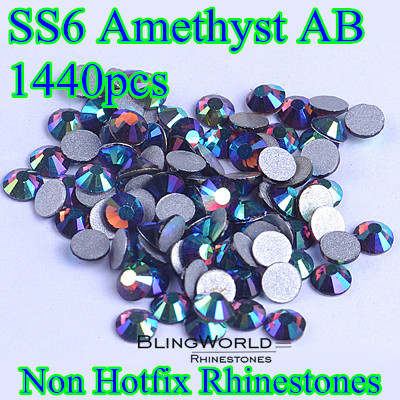 1440pcs Glass Crystals Stones 2mm SS6 Amethyst AB Nail Art Rhinestones For Phone Cases(China (Mainland))