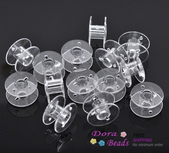 50 Clear Plastic Spools for Thread String / Sewing Machine Bobbin Case 20x11mm (B14068)<br><br>Aliexpress
