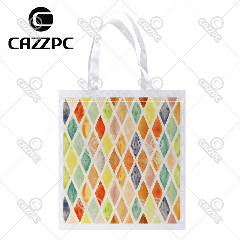 Vintage Colorful Argyle Rhombus Plaid Geometry Print Custom Non-Woven Fabric Reausble Grocery Shipping Storage bag Pack of 4()