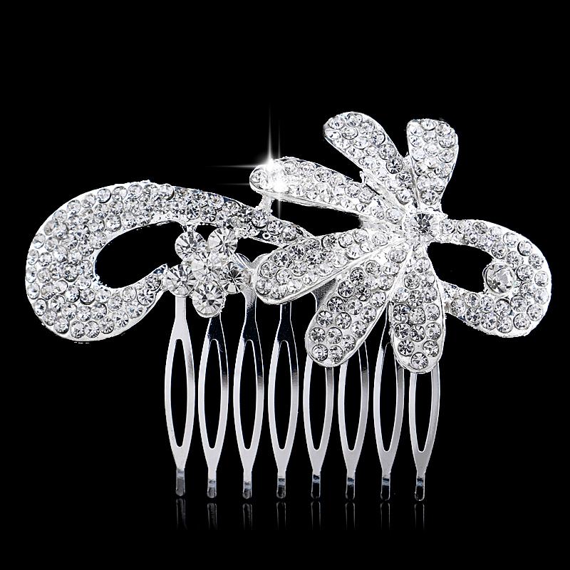 Ceative Flower Tiara Trendy Wedding Jewelry Clear Rhinestone Princess Bridal Hair Comb - Blue Stone store