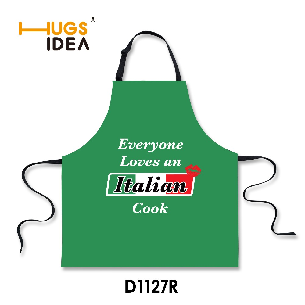 Green Funny Italian Good Design Food Kitchen Aprons Cooking Print Tablier Cuisine Black Blue Stylish Novetly Protective Clothing(China (Mainland))