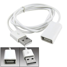 White PVC Metal USB 2.0 Male to Female Extension Adapter Cable Cord 1m 3Ft 7ABC