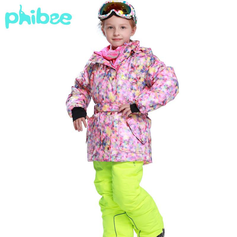 PHIBEE Children Kids Winter Ski Jacket Outerwear Waterproof Windproof Snow Coat + Bib Pants Fleece Warm Snowboard Clothing Suit<br><br>Aliexpress