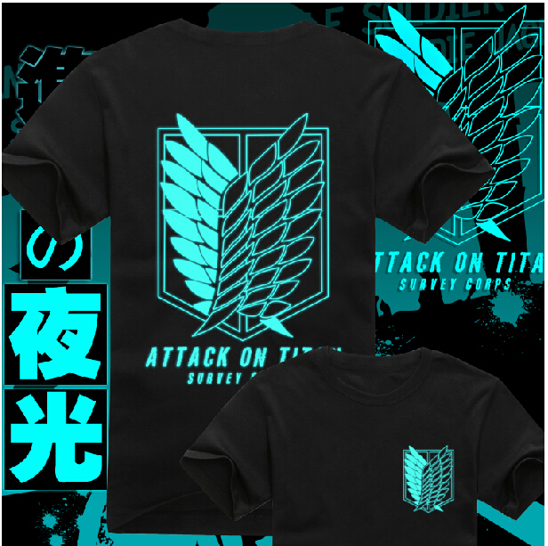 Attack on Titan Cotton T Shirt Anime Scout Regiment Logo Short Sleeve Tops Tees Luminous Version