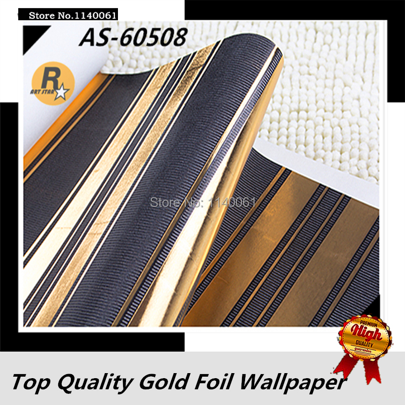 Free Shipping Stripes Pattern Black and Golden Color Wallpaper Roll For Living Room Bedroom Gold Foil Wallpaper(China (Mainland))