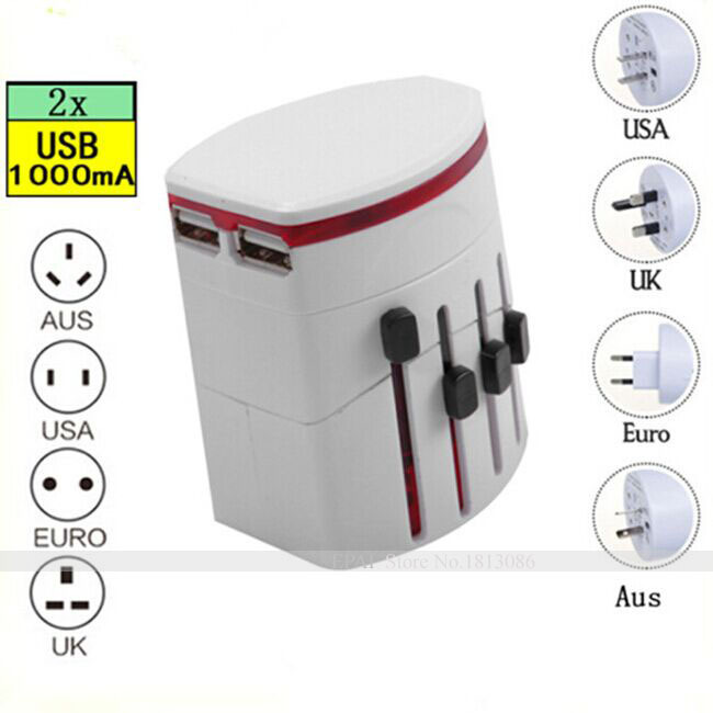 All in One Universal International World Travel AC Power Charger Adapter with AU US UK EU Plug and 2 USB Port Adaptor(China (Mainland))