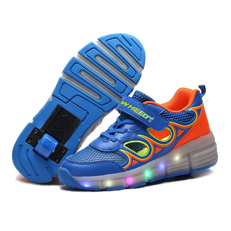 2016 Child Jazzy Heelys, Junior Girls/Boys LED Light Children Roller Skate Shoes, Kids Sneakers Single Wheels - romantic mill store