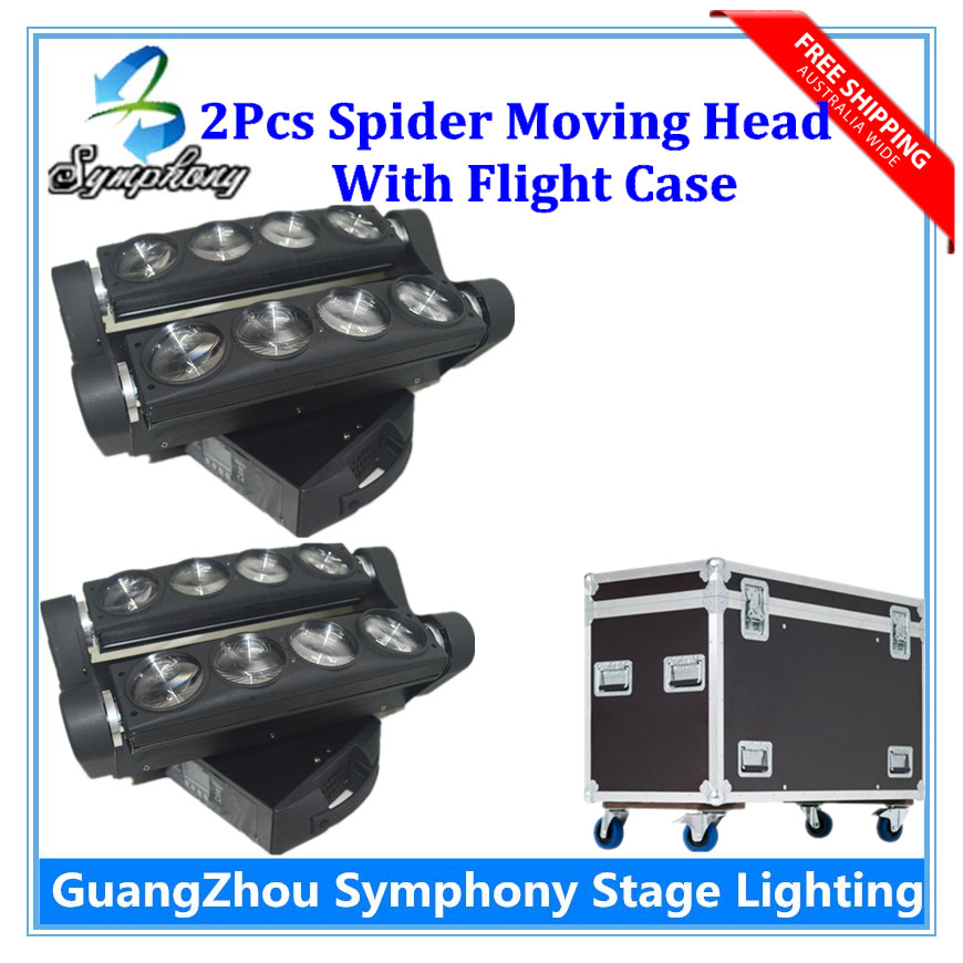 2pcs 8*10W  Led Spider Moving Head Beam Light  with Flight Case DMX Led Spider Light 3 Degree Beam Angle  Spider Stage Lights <br><br>Aliexpress