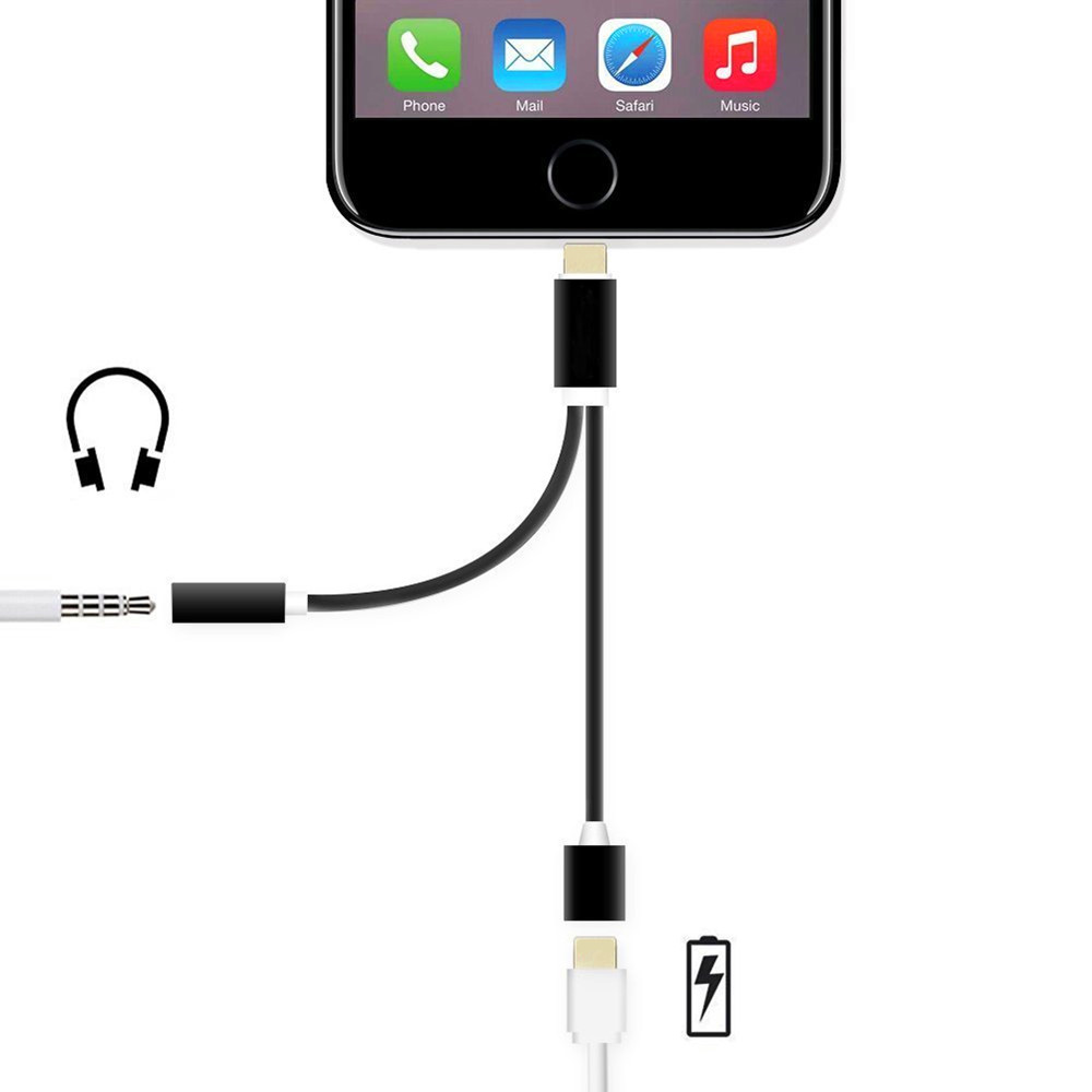 MFI 8pin to 3.5mm Audio Adapter USB Charger Cable for iPhone 7 iPhone7 Plus 6 5 (with 8pin Port Charging + 3.5 mm Port)(China (Mainland))