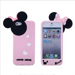 Cute 3D Cartoon Mickey Minnie Mouse Soft Silicone Case Cover Skin for iPhone 5 5G 5th,2012 New Arrival,10pcs/lot