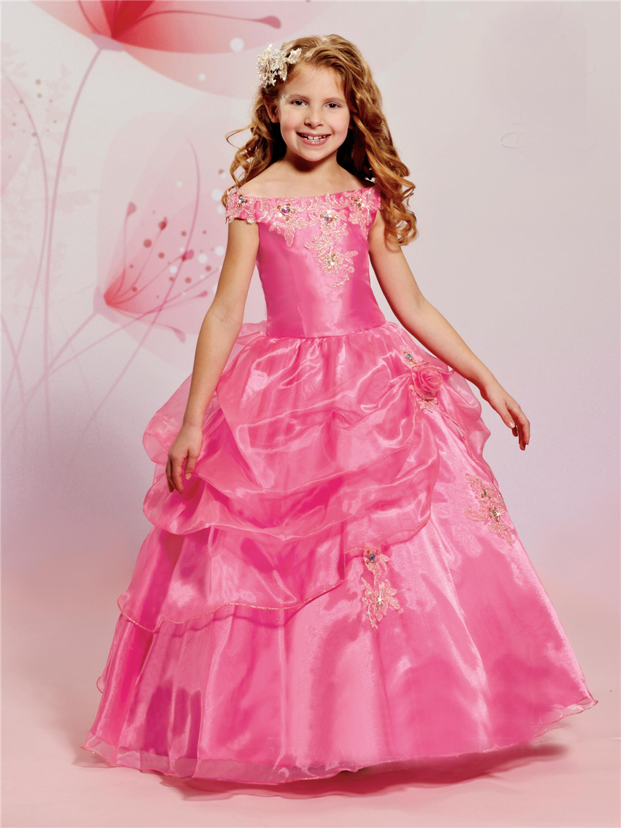 Red flowers girl dresses for weddings ball gown 2015 cheap scoop organza pageant dresses for little girls KP_002(China (Mainland))