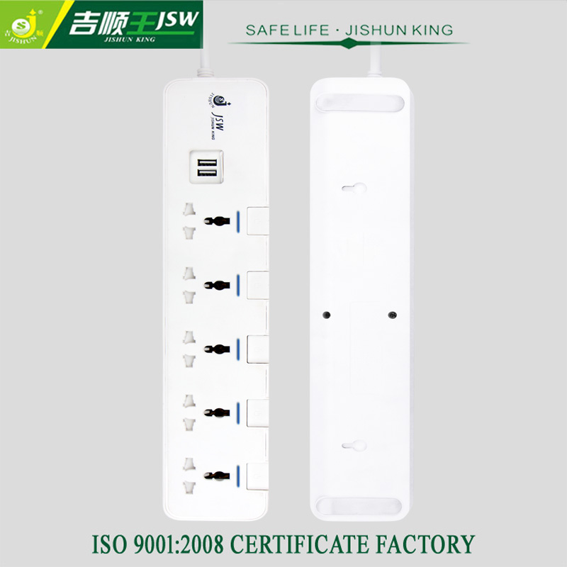 New Design 5 Gang AC Universal Outlets Dual USB Ports 3M Cable Multi Plug Extension Power Socket 3000W Home/Office Socket(China (Mainland))