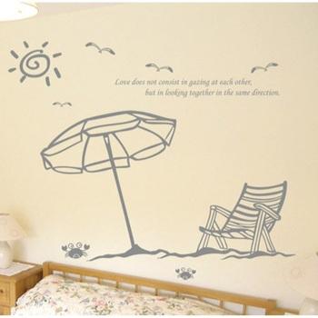 Free Shipping Crab Bird Sun Chair Beach Bedroom Living Room Wall Sticker Art Vinyl Decor Home Window Decoration Decal OW663