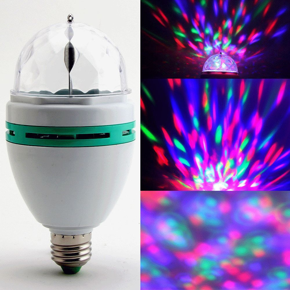 3W E27 RGB Crystal Ball Rotating LED Stage Light Bulb for Club DJ Disco Party Fast Shipping(China (Mainland))