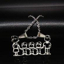 قلادة من الفولاذ المقاوم للصدأ ماما الأسرة القلائد مجوهرات فضية اللون الحب بوي فتاة قلادة المختنق قلادة النساء هدية N2201(China)