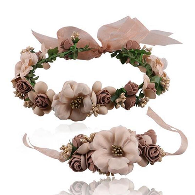 2016 New Women Wedding Rose Flower Hair Wreath Headband Kids Party Floral Garland Ribbon Hair Tie Flower Crown Hair Accessories(China (Mainland))