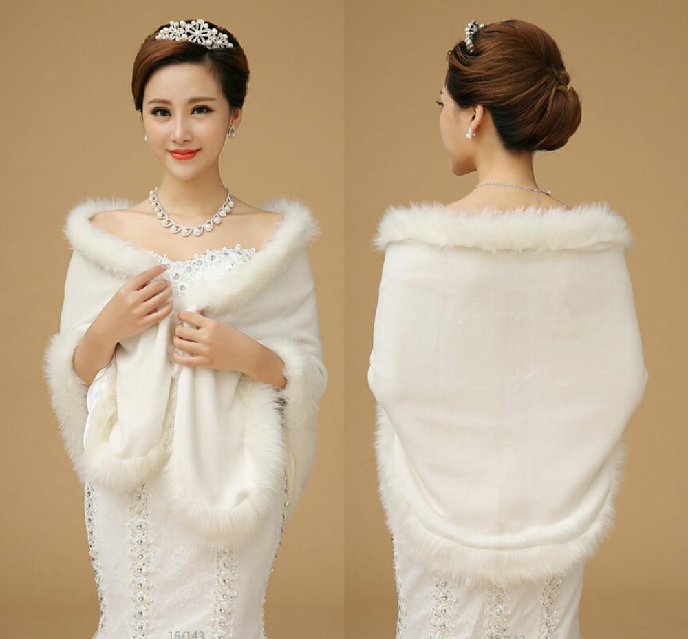 Winter wedding coat women shawl withe fur boleros for the for Winter shawls for wedding dresses