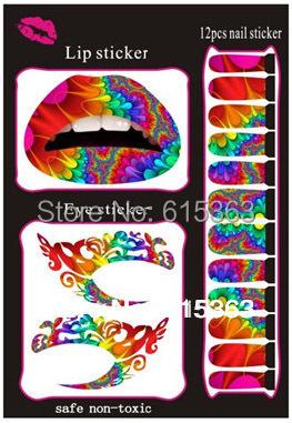 mix order accept beatuiful temporay decoration eye&lip&nail tattoo stickers set cheap price(China (Mainland))