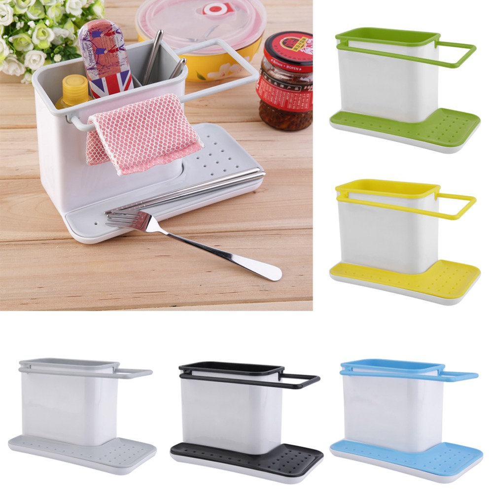 Free Shipping High Quality Popular 3 in 1   Plastic Racks 4 Colors  Organizer Storage Kitchen Sink Utensils Holders Hop Sale<br><br>Aliexpress