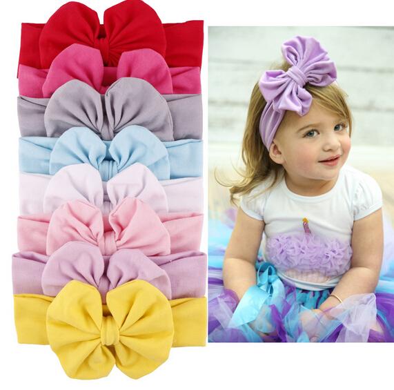 Toddler baby girls cotton headwear kids big bow hairband headband children stretch turban knot head wrap hair accessories 10pcs(China (Mainland))