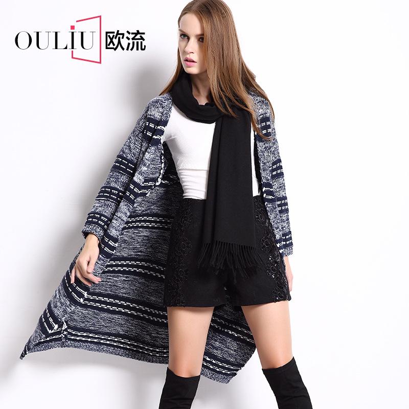 Female 2015 new sweater dress exotic add long striped sweater cardigan 51470 restoring ancient ways(China (Mainland))