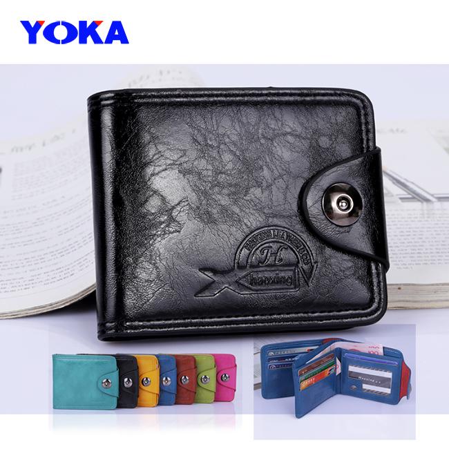 YOKA () NEW men & women fashion wallets korea oil wax pu leather brand quality clutch wallet /purse /card holders - KAYO Bag ( and OEM ! store)