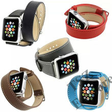 For iWatch Apple Watch Double Tour Genuine Leather Watch Bands 42mm 38mm Strap Bracelet Replacement Wrist Band With Adapter