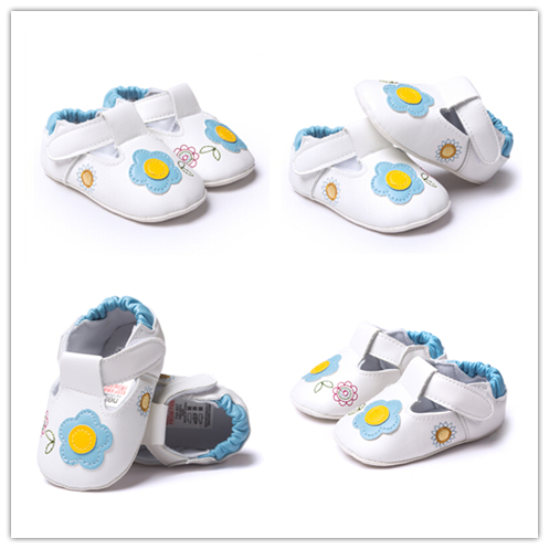 2015 New Design 4 Colors Hot Sale Breathable Baby Infant Shoes White Floral Branded Colourful First Walker Kids Shoes ST156(China (Mainland))