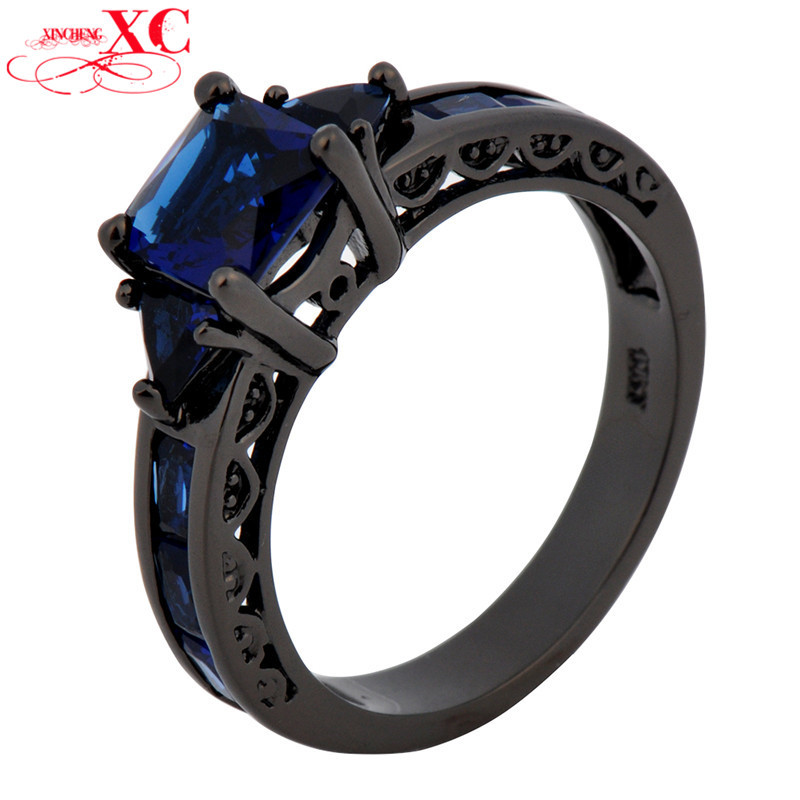 14KT Black Gold Filled Zircon Blue Sapphire Finger Rings High Quality Size 6/7/8/9/10 for Women Lady's Wedding Ring RB0050(China (Mainland))