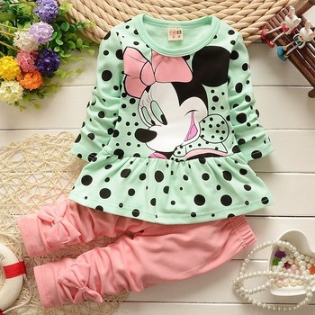 baby girls clothing sets cartoon Mickey Minnie 2015 winter children's wear cotton casual tracksuits kids clothes sports suit hot