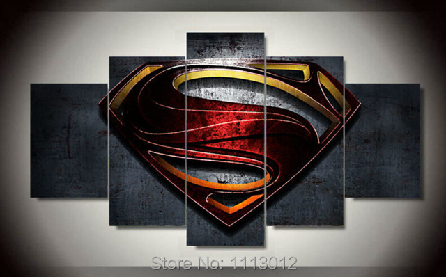 Hand Painted Superman Mark Retro Poster Movie Heros Modern Oil Painting Canvas 5 Piece Abstract Home Art Wall Decorative Set - YouYiBao Retail Store store