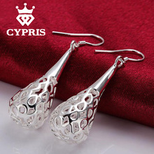 HUGE heavy Dangle earring E337 CHIC NEW arrive jewelry Silver Hollow Water Drop Earrings chic hot Earring CYPRIS 925 jewelry(China (Mainland))