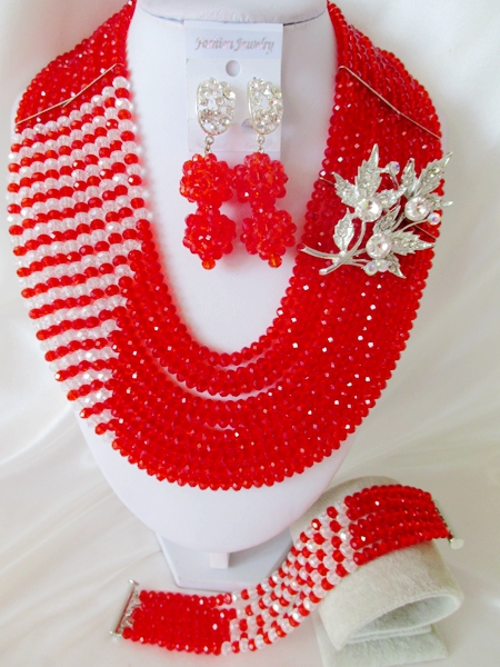 2015 Fashion african red crystal beads necklace set nigerian wedding african beads jewelry set Free shipping P-3920<br><br>Aliexpress