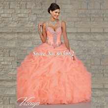 Stock Coral robes De Quinceanera 2015 robe De bal Spaghetti volants perles cristaux robes De soirée pas cher robes De 15 Anos D2(China (Mainland))