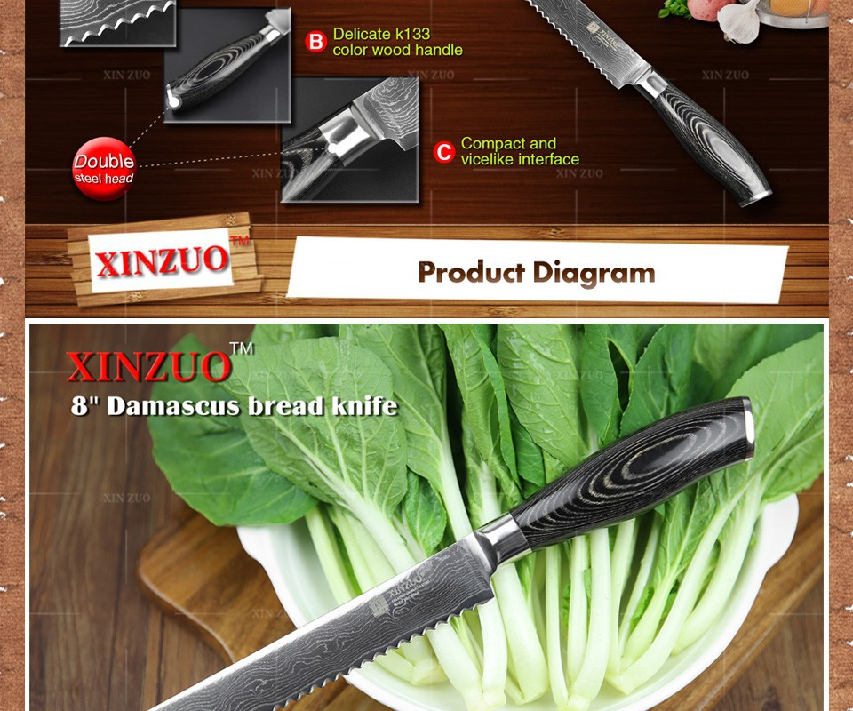 "Buy XINZUO 8"" inch bread knife 73 layers Damascus kitchen knife high quality VG10 cake knife with Color wood handle free shipping cheap"