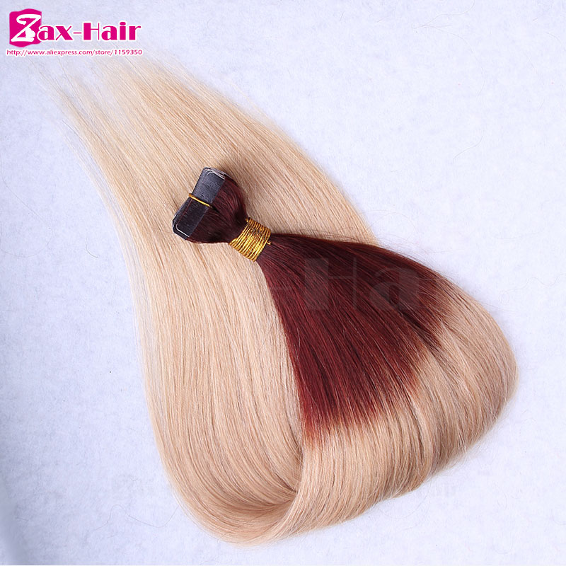 Tape hair extensions two tone tape hair straight adhesive tape for hair extensions remy human hair 40 pieces grade 6A skin weft