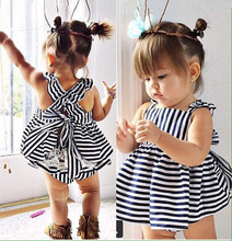 2016 Fashion baby toddler girls dress newborn girls bowknot dress Infant clothing casual dress for summer vestido(China (Mainland))