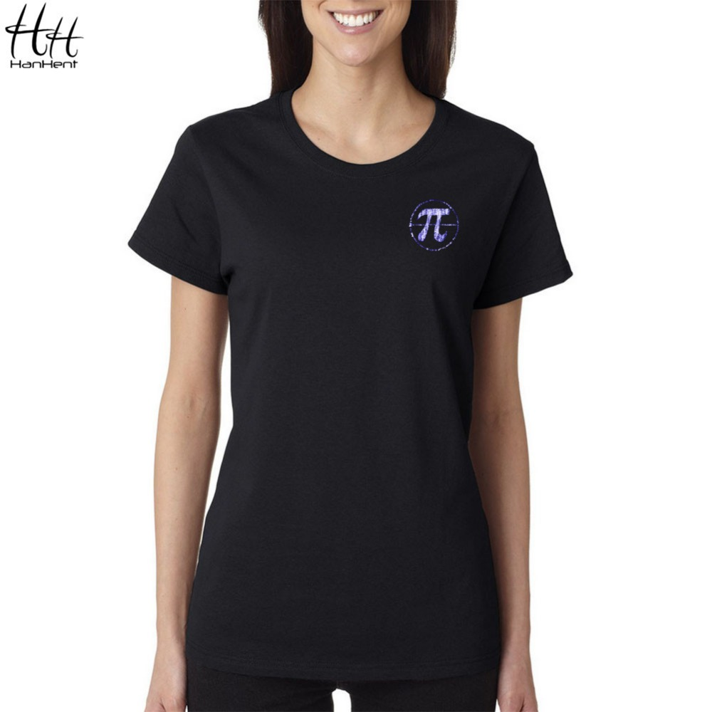 HanHent Cute Math Symbols Pi T shirt Women printing mathematical genius cotton short-sleeved Funny Geek Men's T-Shirts SW0605(China (Mainland))