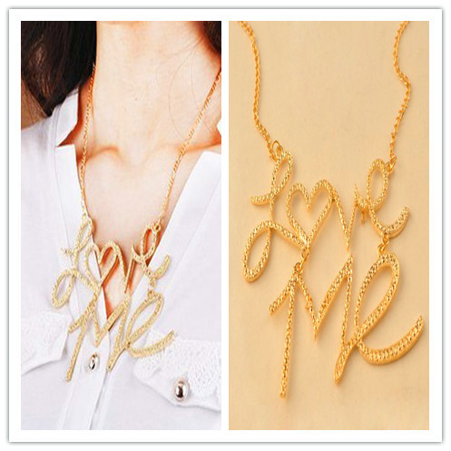 Sheegior New Arrival Fashion Gold LOVE ME Metal words short  Romantic lady choker necklace Free shipping Min.order $10 mix order