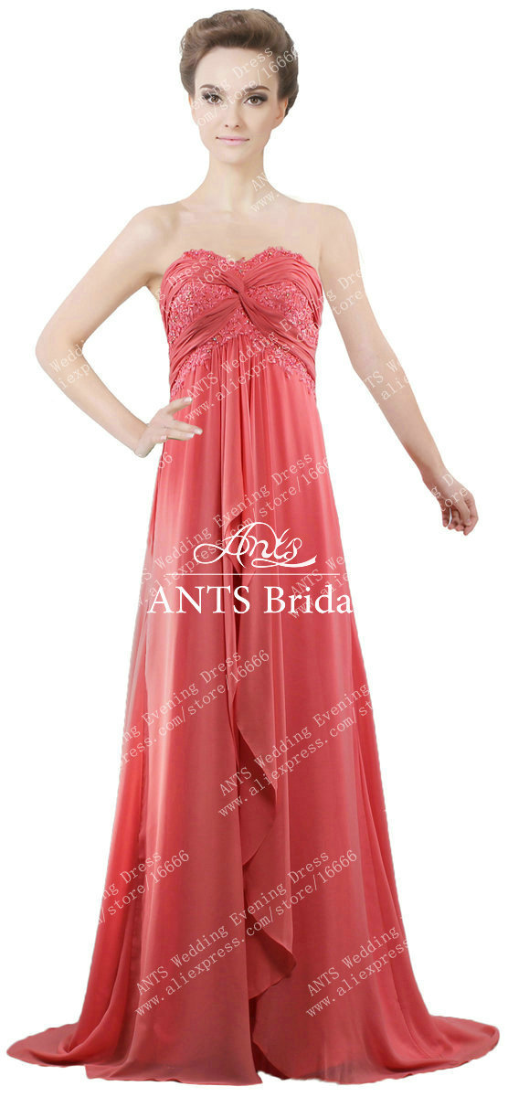 R426 vintage beach wedding sequins lace chiffon long coral for Coral bridesmaid dresses for beach wedding