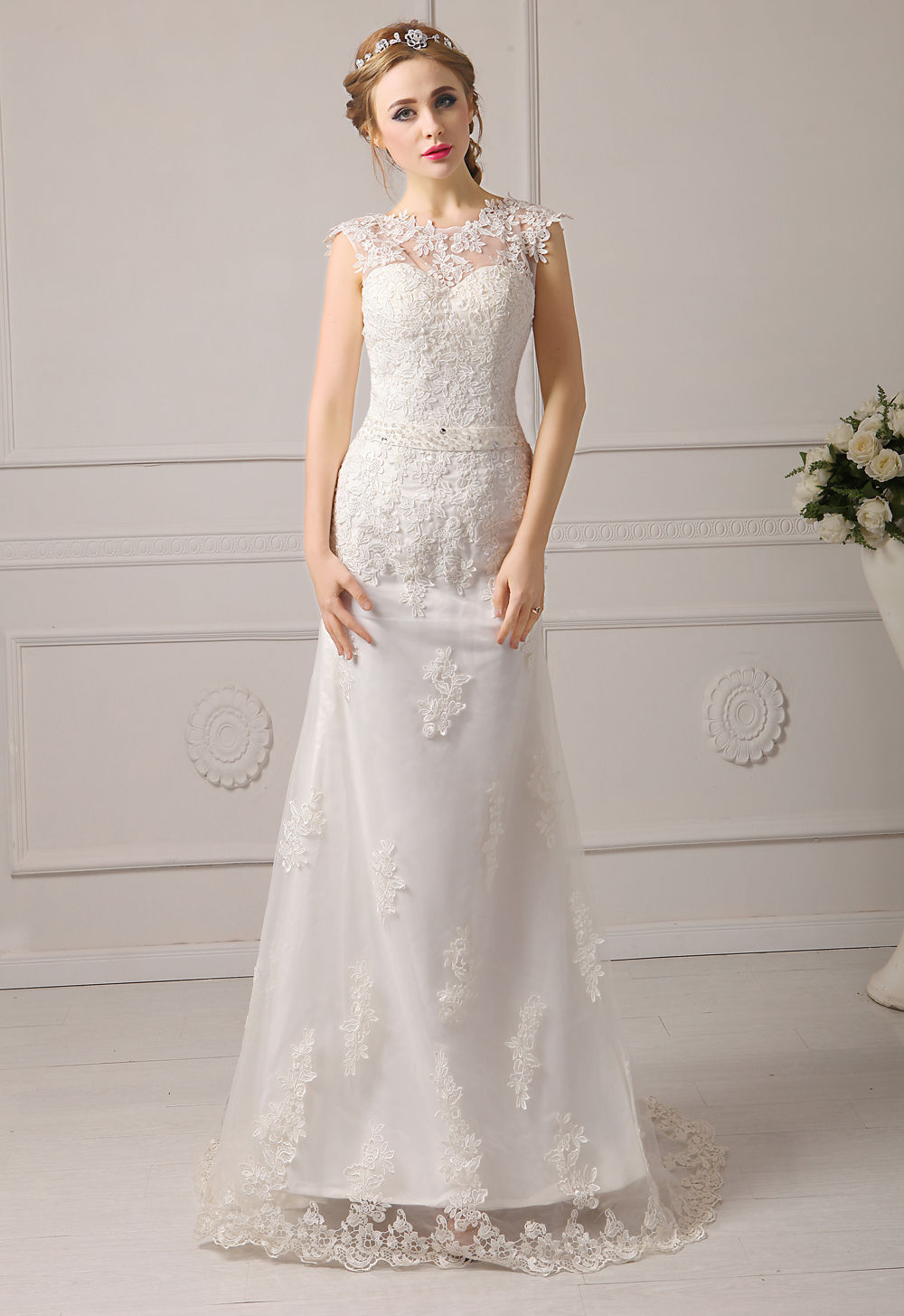 Aliexpress Buy Elegant Lace White Ivory Wedding Dress For Wedding Party Bride Gown Tank